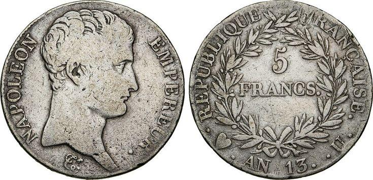 NumisBids: Numismatica Varesi s.a.s. Auction 65, Lot 728 : NAPOLEONE I, Imperatore (1804-1814) 5 Franchi An. 13 (1804-1805)...