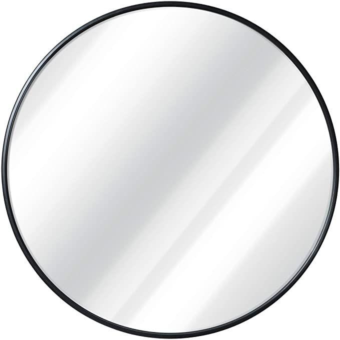 Amazon Com Black Round Wall Mirror 24 Inch Large Round Mirror Rustic Accent Mirror For Bathroom En Black Round Mirror Round Wall Mirror Large Round Mirror 24 inch round mirror