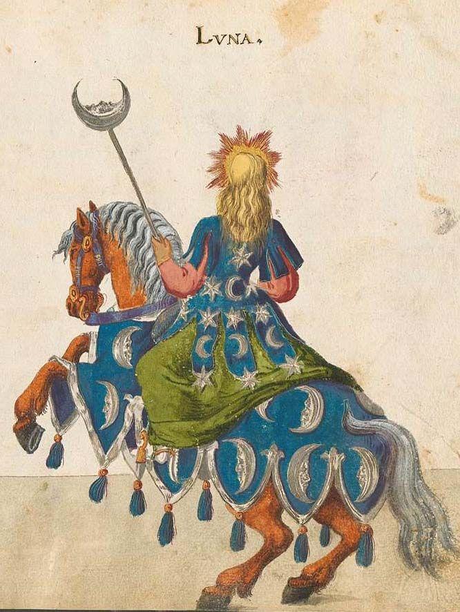 The Moon (Luna)   Bayerische Staatsbibliothek, - BSB Cod.icon. 340, f. 33r. Beschreibung der historischen und allegorischen Personen der acht Inventionen zum Ringelrennen in den Aufzügen gehalten 1596 anläßlich der Taufe der Prinzessin Elisabeth von Hessen, 1600.