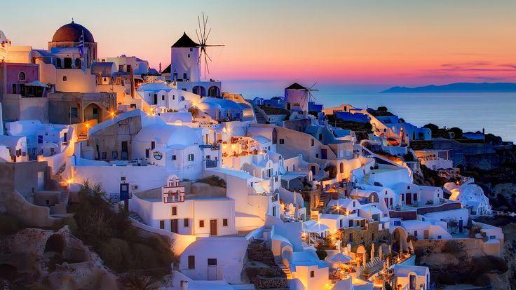 Santorini Greece, night lights Travel notes: Wish list #2