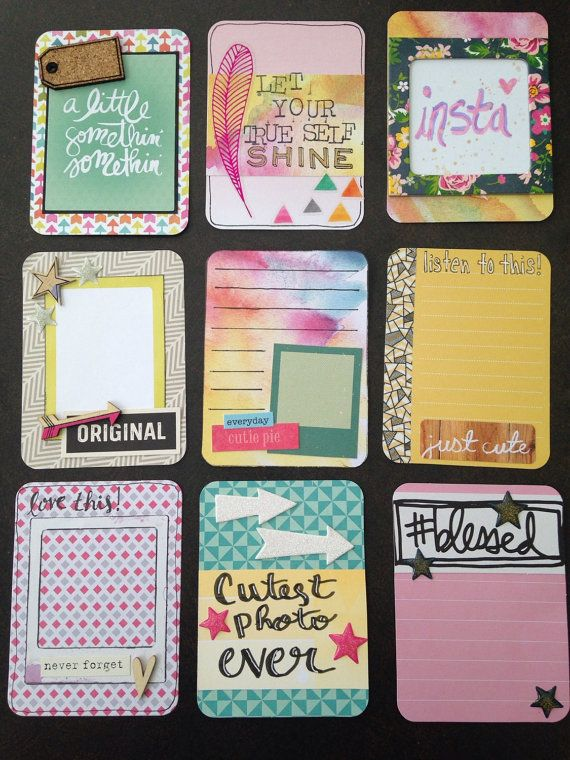 Handmade project life card set- Watercolor doodles