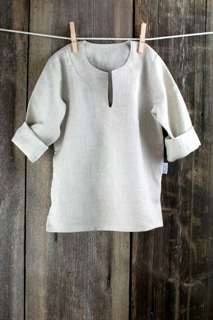 Boy shirt - Natural gray linen boy shirt - size 6 - 7 years