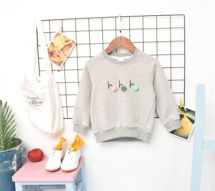 2018 Baby Sweatshirts Balls Decoration Cotton Long Sleeve Spring New Girls Boys Tee Shirt Kids Tops //Price: $87.33 //     #baby