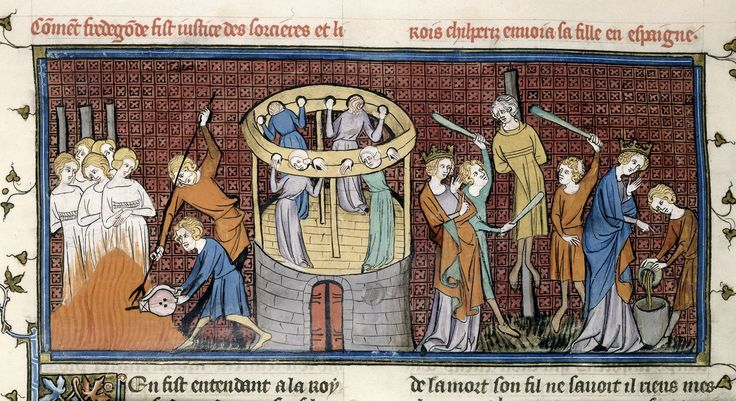 from the French historical collection Chroniques de France by Saint-Denis in the 13th century, Witches being burnt and tortured (Royal 16 G VI f.64)