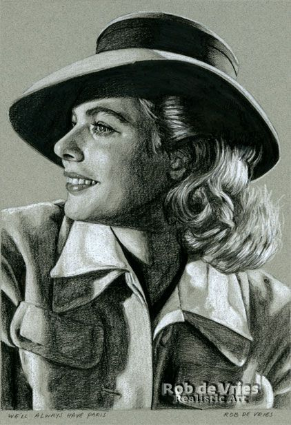 """June 2017, Ingrid Bergman """"We'll always have Paris"""",  Charcoal, ink and white chalk on colored paper.  21 x 15 cm."""
