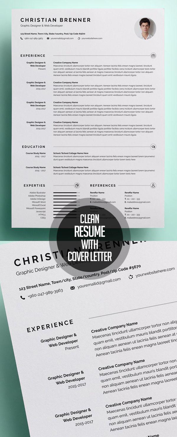 Clean Resume/CV With Cover Letter #photoshopresume #resumetemplate #wordresume #cvresume #resumedesign #minimalresume #cleanresume #resumedownload