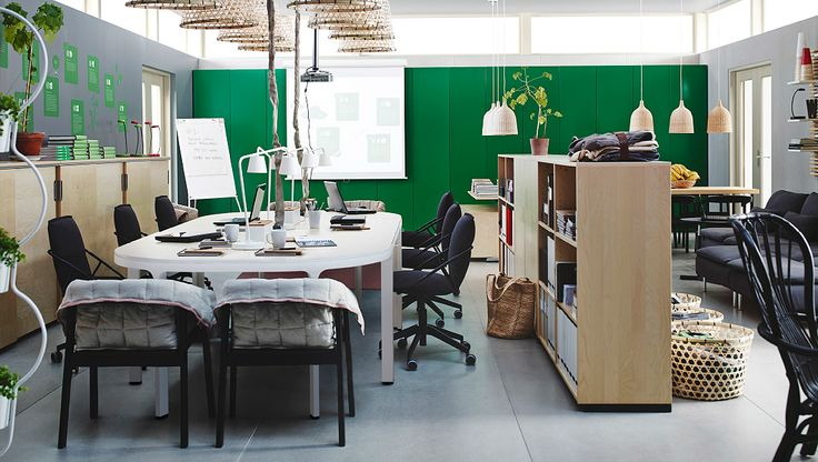 Open office with conference table in birch veneer/silver-colour and open or closed shelving units