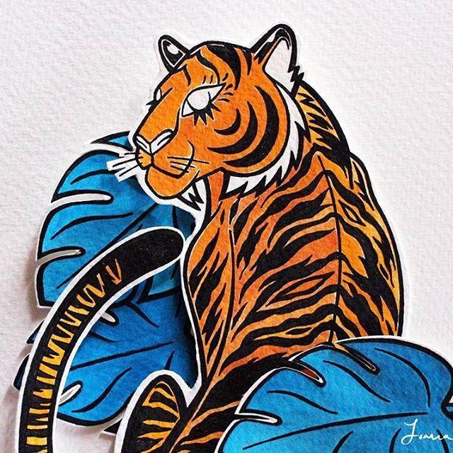 Wip #illustration #illustragram #illustragram #illustrationartist #instadraw #instacool #instwork #instart #instadaily #instagood #huntagram #huntagramportugal #igers #igersrecommendation #p3top #gerador_eu #tigre #watercolor #creativemagazine #flowmagazine_fr #frankiemag #picame #papercut #illustranage #wrap_magazine #powertothepen #artistsofinstagram #animals