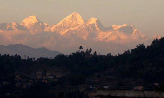 Sun rise over the Himalayas in the Kathmandu valley.