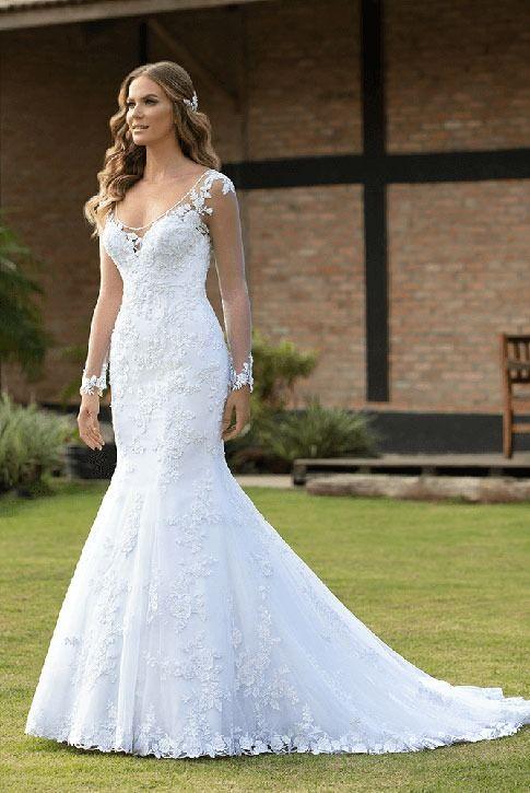 Santorini 27 | Vestido de noiva em 2021 | Vestidos de noiva princesa, Vestido de casamento simples, Vedtido de noiva