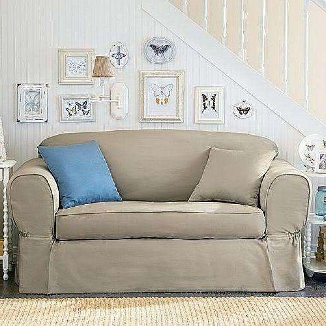 Sleeper Sofas Loveseat Linen Piped Twill Piece Sofa Slipcover Tan http lanewstalk