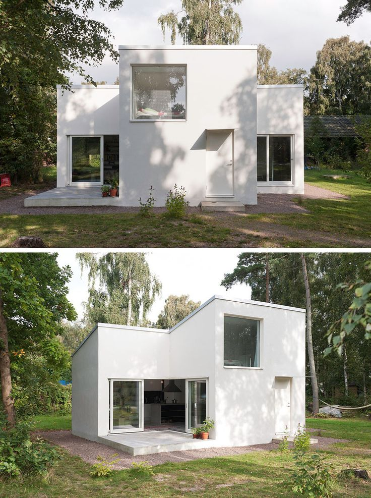 11 Small Modern House Designs From Around The World | The bright white color of this summer house makes it stand out against the greenery of the surrounding area and gives it a contemporary look.