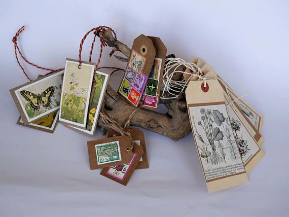 Cadeau labels  papier en karton  o.a. bloemen postzegels