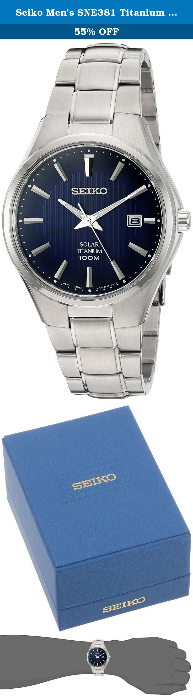 Seiko Men's SNE381 Titanium Watch with Blue Dial. SEIKO CORE.