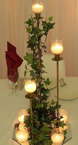 centros de mesa para boda de hiedra