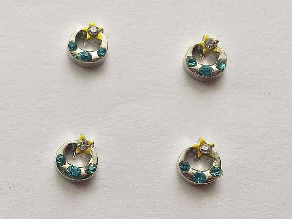 4 Ring with Rhinestone Floating Charms  Glass Locket Charms