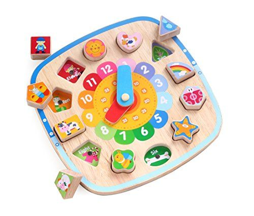 3 in 1 Wooden Shape Sorting Clock Puzzle with Magnetic Farm Blocks - by Kids Destiny  CLASSIFY AND GROUP - 12 farm themed blocks to sort, group and arrange on the back of the clock board  RELATIONSHIP BETWEEN OBJECTS - 'round the clock matching game with characters and colors for preschool learning  LEARN TO TELL TIME - Colorful wooden clock with fully rotating hour and minute handles set on a stand for upright practice  QUALITY SOLID WOOD construction and durable child-safe paint fini...