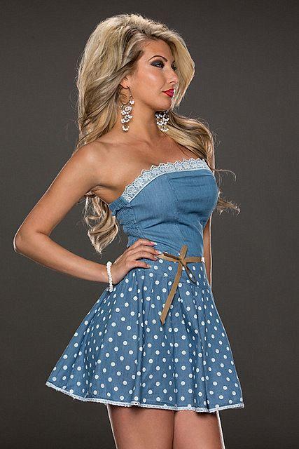 Vestido corto mini vaquero estampado lunares palabra de honor borde de encaje falda vuelo volantes media pierna cinturón   Azul Celeste, Blanco Hielo   Fashion