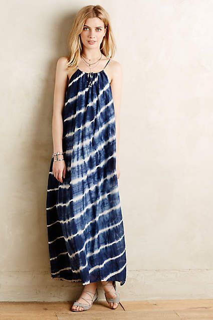 Oceantide Maxi Dress - anthropologie.com-- l am seeing a lot of shibori dying and this dress makes the most of it. I love the loose flowy style and the indigo dye is beautiful.