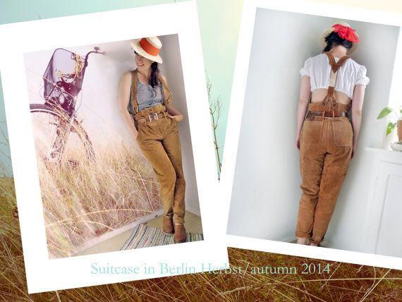 Leather Suspender Pants Original GErmanLederhosen Ladies High Waisted Country Folk Suede Pants, Hippy Boho Folk Fashion Caramel Brown