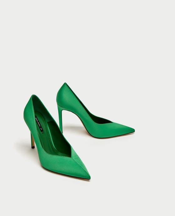 Image 3 of GREEN V VAMP HIGH HEEL COURT SHOES from Zara