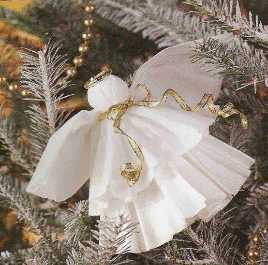 From coffee filters!!  Could add a large gold ribbon in the back for wings.  Add a ribbon to hang on the tree.  Coffee Filter Angel