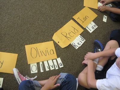 "great activity for student names. First so they quickly know how to spell their own. Then let all students ""practice"" spelling other classmates' names."