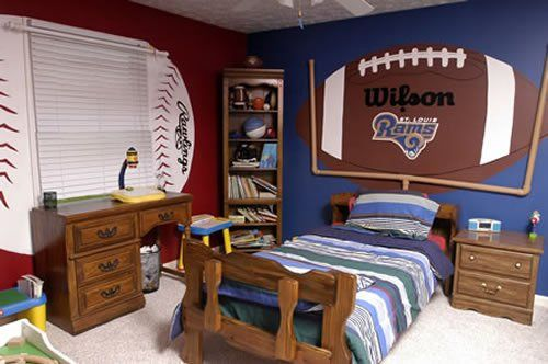 Football Fans' Room by Taylor Homes  Kind of overkill but still some good ideas