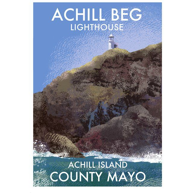 A4 or A3 print of Achill Beg Lighthouse on to the south of Achill island, county Mayo. Printed 250g/m² art print paper Artist: Roger O'Reilly