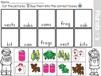Singular and Plural Nouns Sort. No prep work required, just print and go!Common core aligned to CCSS.ELA-LITERACY.L.K.1.CForm regular plural nouns orally by adding /s/ or /es/ (e.g., dog, dogs; wish, wishes).This packet has different activities for singular and plural nouns.