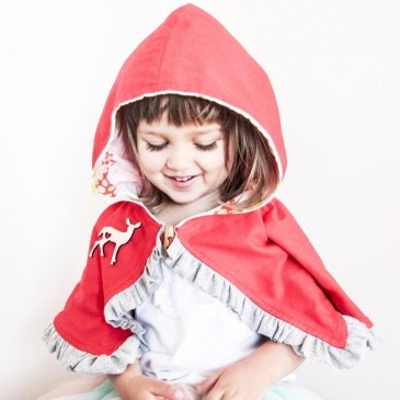 forest friends cape with blush pixie party lining