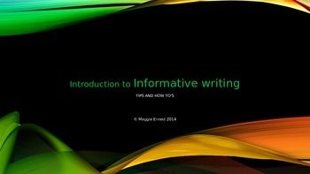 This Powerpoint is very helpful for anyone who is introducing informational writing to their class. It goes through each important aspect of informational writing and is directly correlated to Indiana standards. It also follows Common Core Standards.