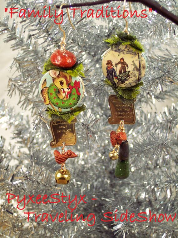 """Family Traditions""  Christmas holiday earrings (Woodland) - made from up-cycled buttons, ceramic art beads, and jingle bells by PyxeeStyx"