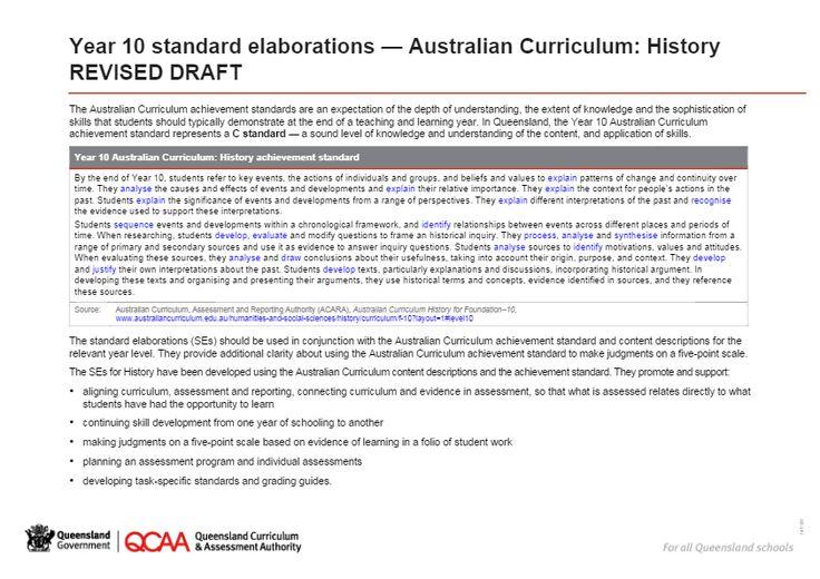 Year 10 History standard elaborations