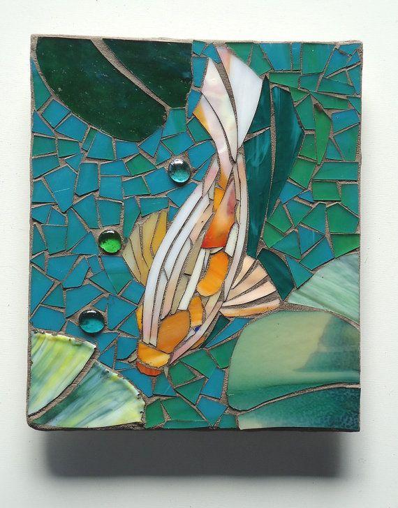 MOSAIC KOI TILES outdoor glass wall art set by ParadiseMosaics
