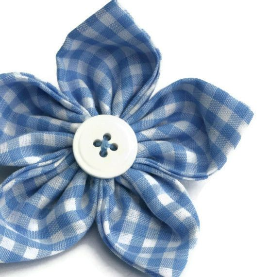 Blue gingham flower brooch