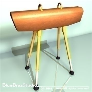 Gymnastics Pommel Horse 3D Model-   The pommel horse is an artistic gymnastics apparatus. It is traditionally used by male gymnasts, due to intense strength requirements. Originally made of a metal frame with a wooden body and a leather cover, today the frame may contain plastic or composite materials, a body made of plastic and may be covered with synthetic materials instead of leather.Height 115 cmLenght 160 cmwidth 35 cmHeight handles 12 cmDistance between handholds to 40 cm at 45…