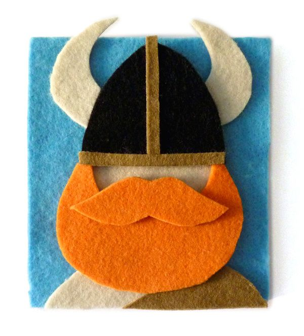 viking Felt Portrait - could make these pieces in photobooth style for kids during dragon party!