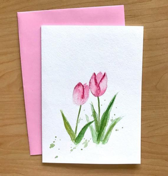 Congratulations Card Birthday Four Tulips custom hand painted