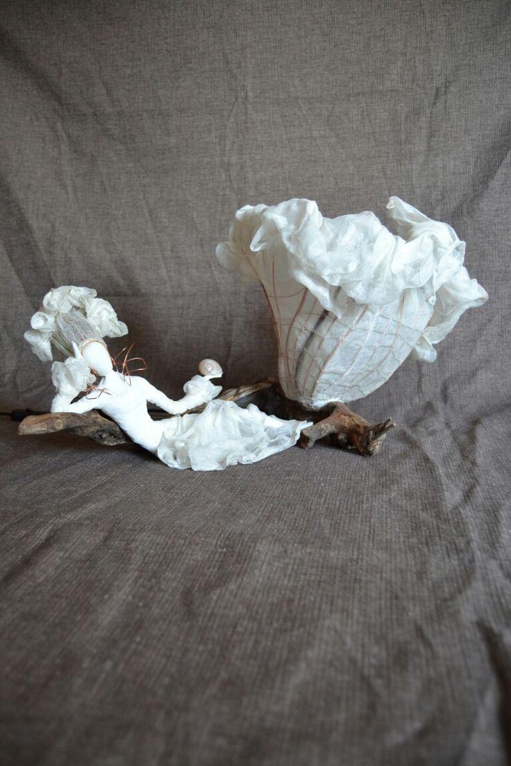 'damare' lampada in legno rame e cotone