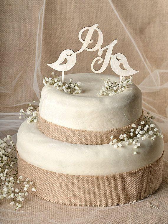 Topper torta rustica legno Cake Topper, monogramma Cake Topper, piccioncini Cake Topper, Topper torta nuziale,