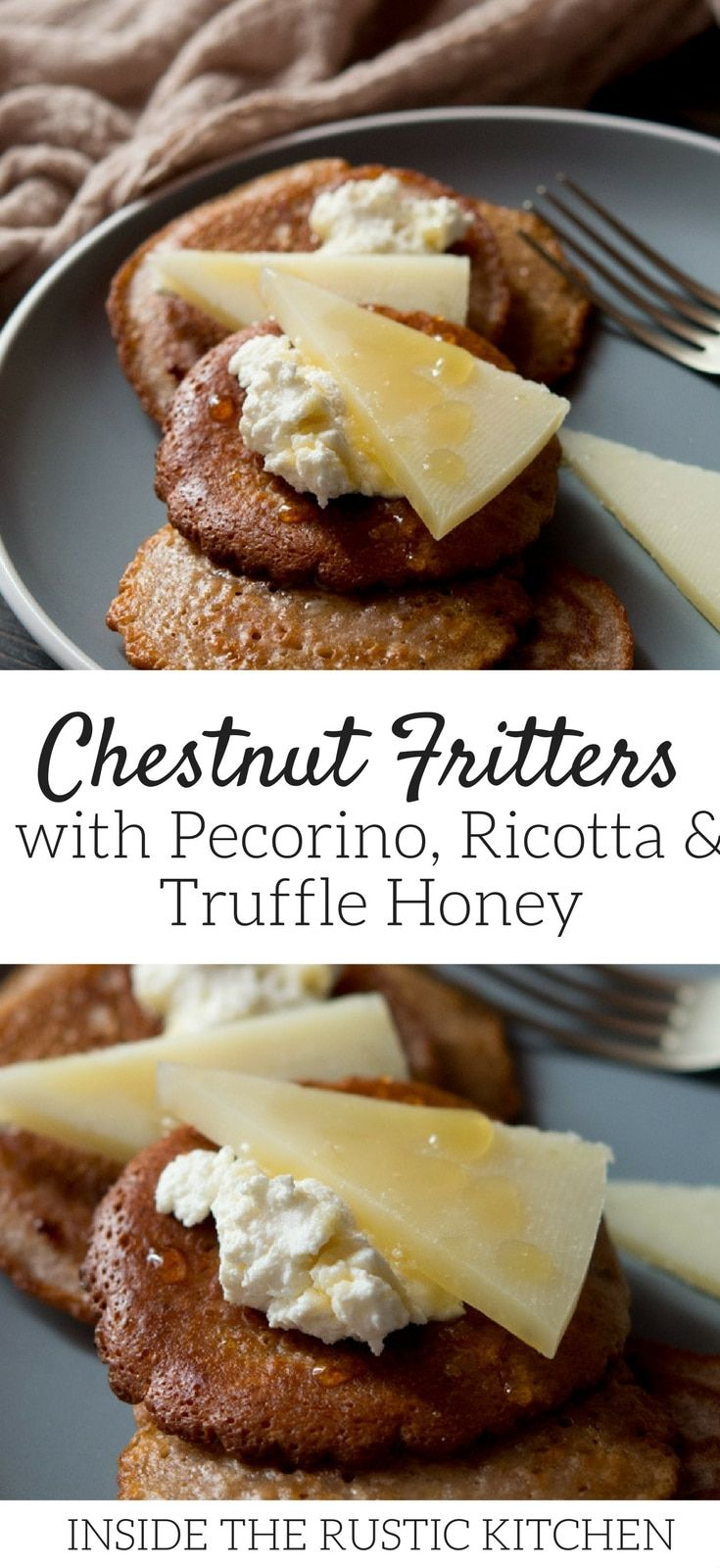 Easy chestnut fritters with ricotta, pecorino cheese and drizzled with truffle honey. These sweet and savoury Italian treats are festive, delicious and so easy to make. More traditional Italian recipes at Inside The Rustic Kitchen. #Italianfood #chestnut #festivefood  via @InsideTRK