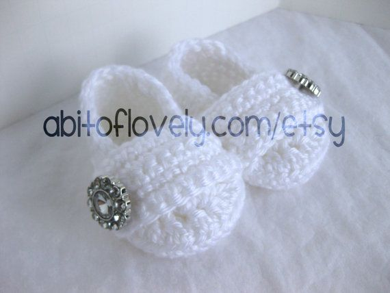 Baby Girl Infant Shoes / Slippers / Booties - White & Jewel - YOUR choice size - (newborn - 12 months) - photo prop - clothing on Etsy, $24.00