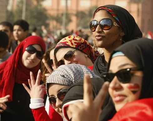 Egyptian women in Cairo's Tahrir Square, the epicenter of the popular revolt that drove President Hosni Mubarak from power. Description from usatoday30.usatoday.com. I searched for this on bing.com/images