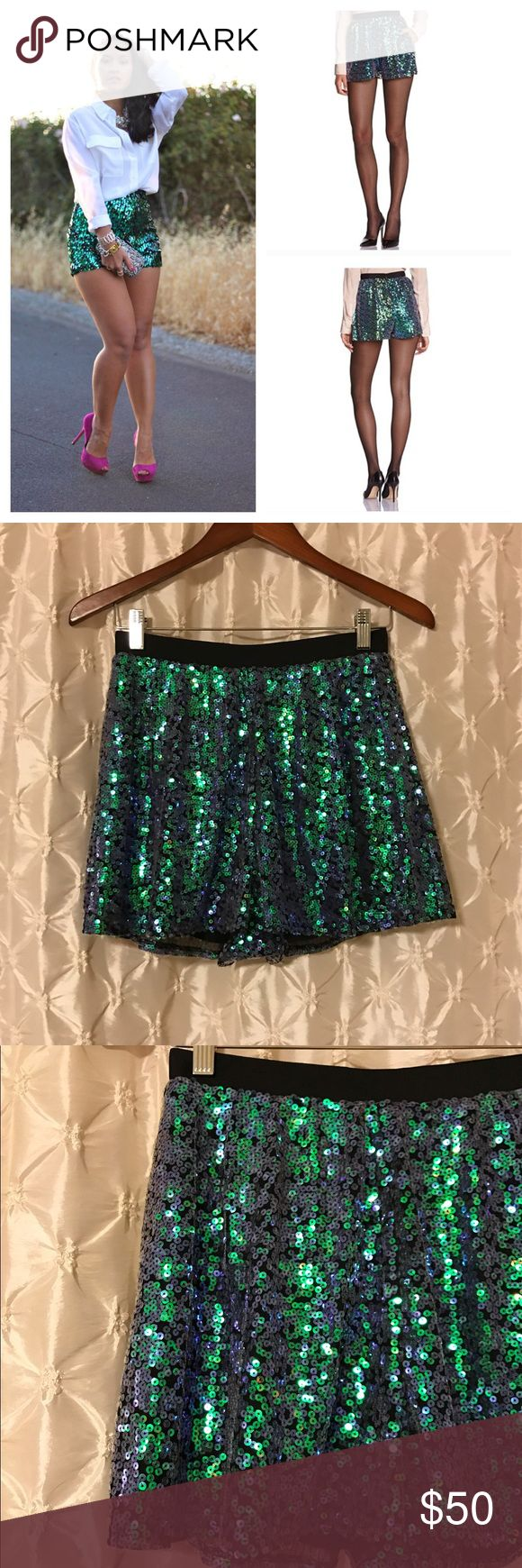 """Bcbgeneration Turquoise sequin shorts You're looking at a new with tags pair of BCBGeneration shorts in size 2. Beautiful! Very pretty turquoise/green/purple sequins remind me of a mermaid! Black waistband, fully lined and zips up the back. Waist laying flat 13.5"""". Length 14"""". 💙offers 💙20% off discount on bundles 🚫paypal/trades BCBGeneration Shorts"""