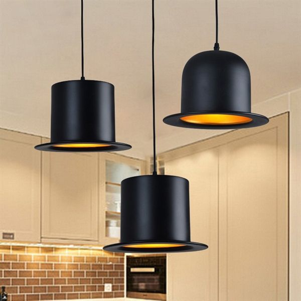 Lustre design suspension aluminium lampe noir en forme de chapeau pour cuisine salon pas cher chez homelavafr