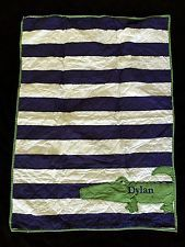 POTTERY BARN KIDS ALLIGATOR MADRAS TODDLER QUILT *DYLAN* NEW BLUE GREEN CRIB BOY