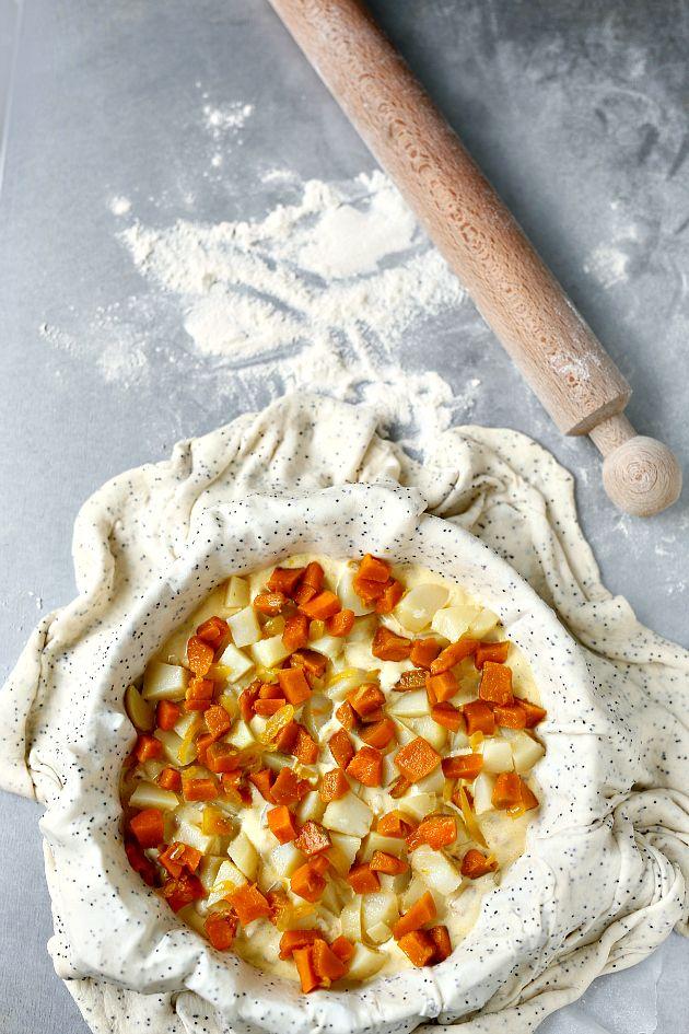 Torta salata con la zucca e pasta matta alla ricotta