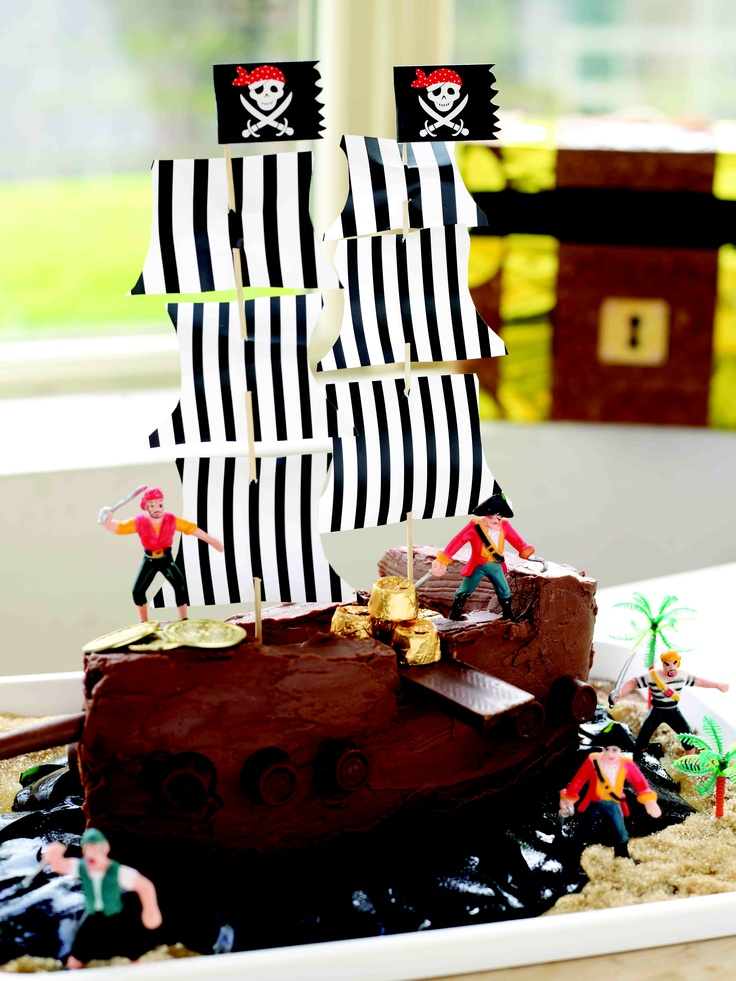 Download the template for this pirate ship cake and other crafts and decorations for a perfect pirate-themed birthday party: http://www.easyfood.ie/pirates-toolkit/