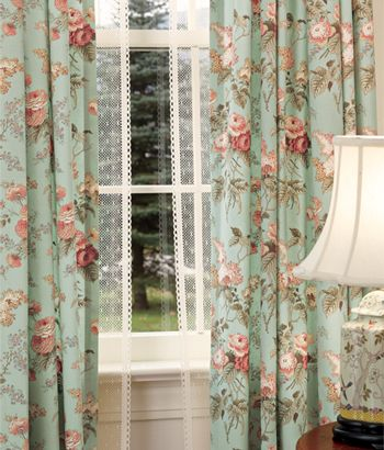 Inspired by the summer-time charm of a cottage garden, this print pairs flowers of blue, rose and cream tones to delight you any time of year. Laura's Garden Rod Pocket Floral Curtains by Country Curtains a company founded by Jane and Jack Fitzpatrick in 1956 in Whitman, Massachusetts.